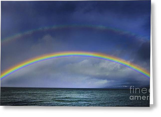 Double Rainbow Greeting Cards - Double Rainbow Over Lake Tahoe Greeting Card by Mitch Shindelbower