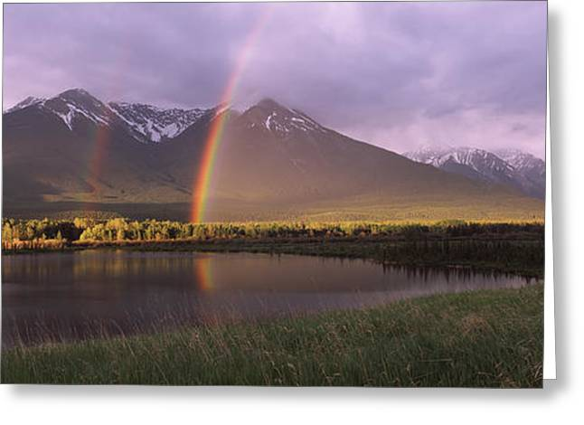 Double Rainbow Greeting Cards - Double Rainbow Over Mountain Range Greeting Card by Panoramic Images