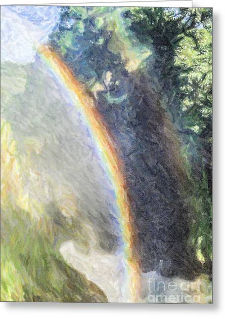 Double Rainbow Greeting Cards - Double Rainbow over Murchison Falls Waterfall Uganda Africa Greeting Card by Liz Leyden