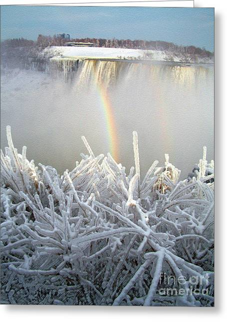 Double Rainbow Greeting Cards - Double Rainbow Over Niagara Falls Greeting Card by Jack Gannon