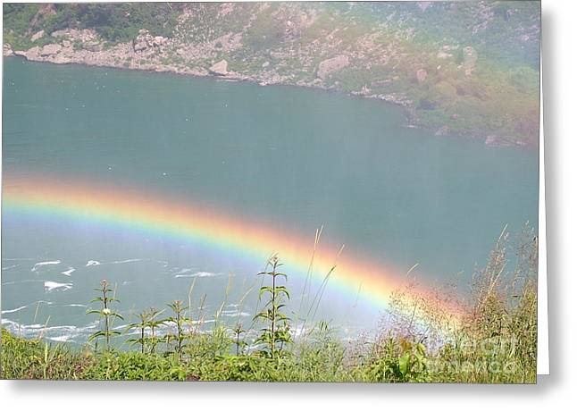 Double Rainbow Greeting Cards - Double Rainbow Over Niagra Falls Greeting Card by Mark Bowden