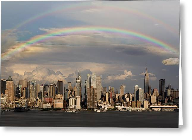 New York City Rain Greeting Cards - Double Rainbow Over NYC Greeting Card by Susan Candelario