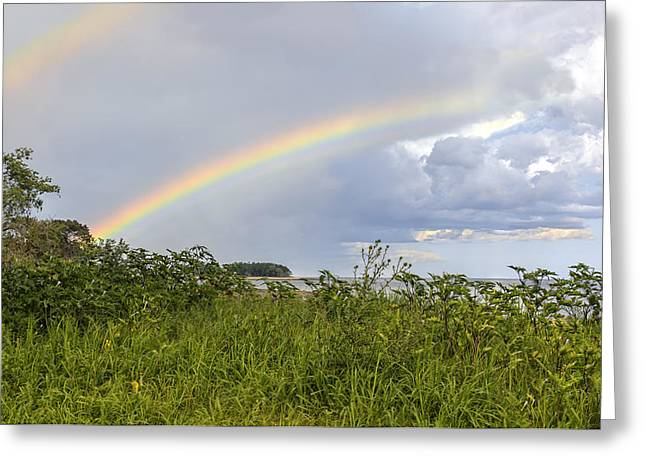 New England Ocean Greeting Cards - Double rainbow Sheffield Island Greeting Card by Marianne Campolongo