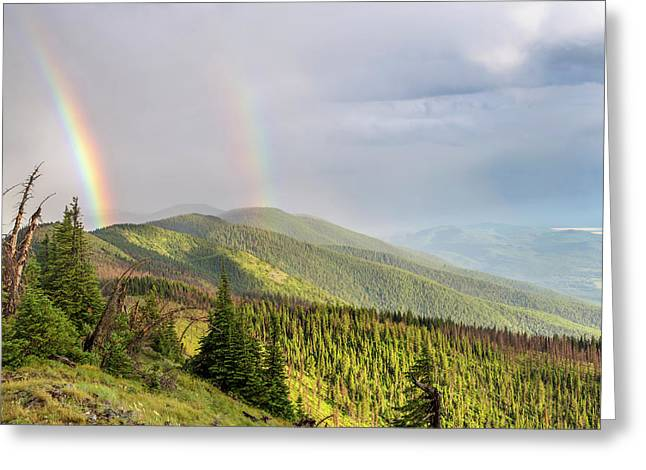 Double Rainbow Over The Whitefish Range Greeting Card by Chuck Haney