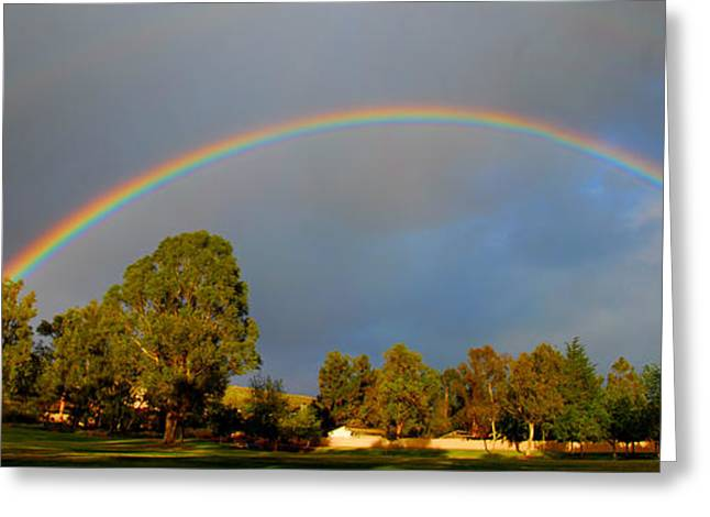 Double Rainbow Greeting Cards - Double Rainbow Panorama Greeting Card by Lynn Bauer