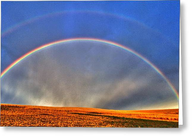 Spectacular Greeting Cards - Double Rainbow Greeting Card by Scott Mahon