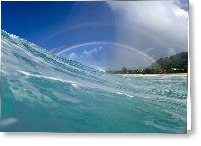 Ocean Art Photography Photographs Greeting Cards - Double Rainbow Greeting Card by Sean Davey