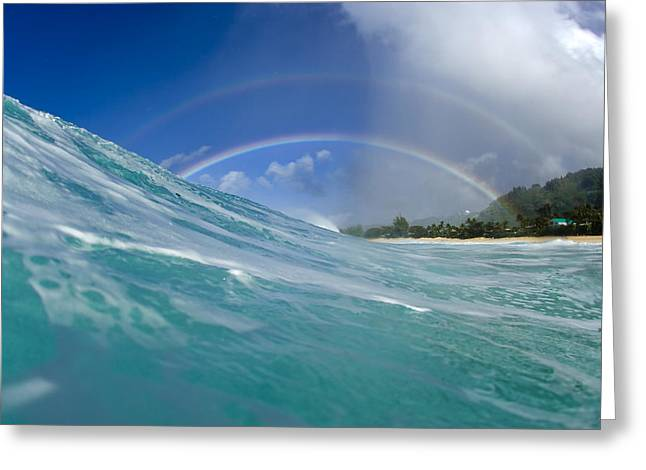 Ocean Energy Greeting Cards - Double Rainbow Greeting Card by Sean Davey