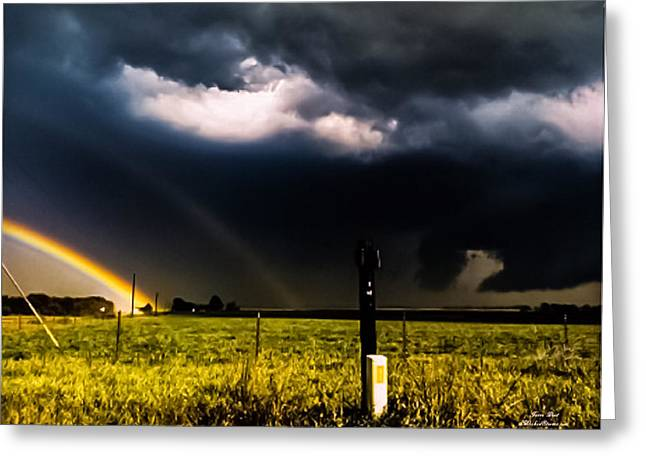 Double Rainbow Digital Art Greeting Cards - Double Rainbow Tornado Warned Storm Greeting Card by Jesse  Post