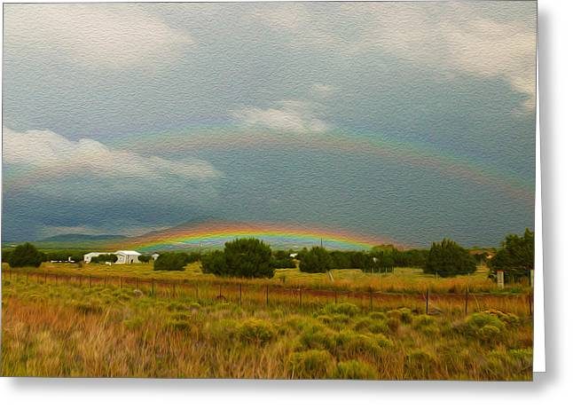 Field. Cloud Greeting Cards - Double Rainbow Greeting Card by Tracy Winter