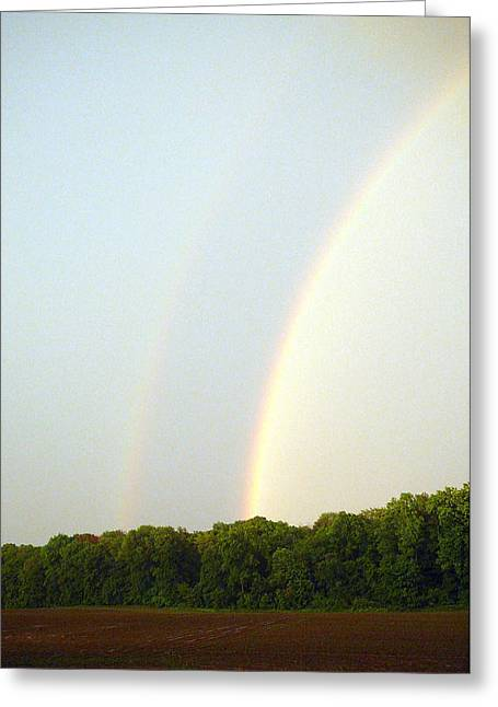 Double Rainbow Greeting Cards - Double Rainbow Greeting Card by Valerie Jean Schafer
