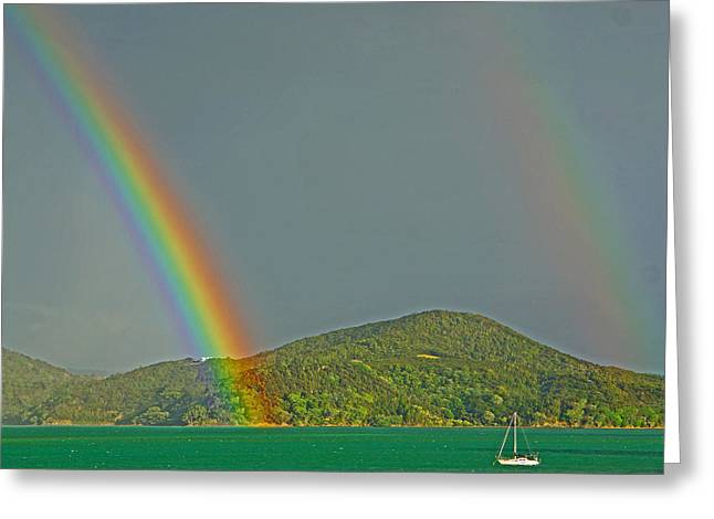 Double Rainbow Greeting Cards - Double rainbow with boat Greeting Card by Marianne Robson