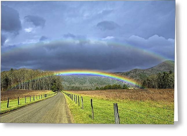 Double Rainbow Greeting Cards - Double Rainbows Greeting Card by Rhonda McClure