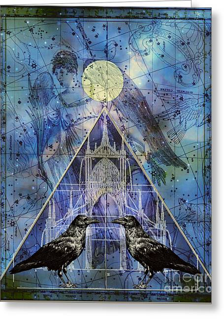 Judy Wood Digital Art Greeting Cards - Double Raven Constellation Greeting Card by Judy Wood