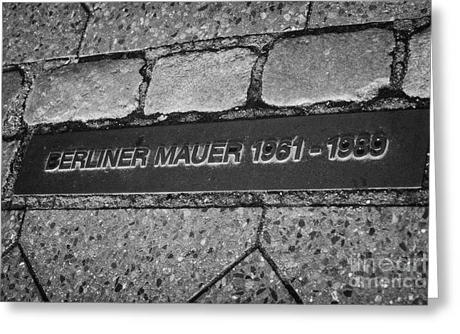 Berliner Greeting Cards - double row of bricks across berlin to mark the position of the berlin wall berliner mauer Berlin Germany Greeting Card by Joe Fox