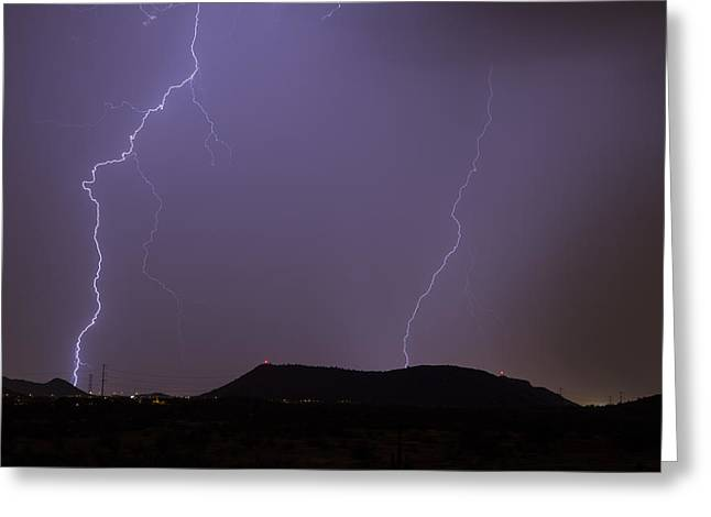 Arizona Lightning Greeting Cards - Double Shot Greeting Card by Cathy Franklin