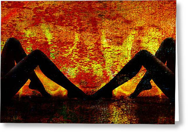 Nude Female Greeting Cards - Double Silhouette 1019.02 Greeting Card by Kendree Miller
