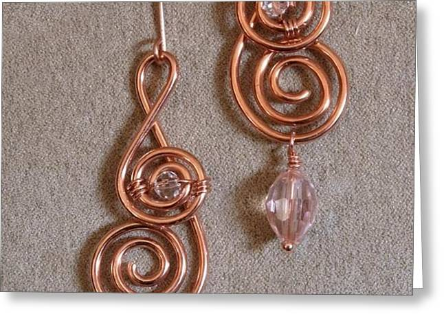 Double Spiral with Crystal  136 Greeting Card by Jan Brieger-Scranton