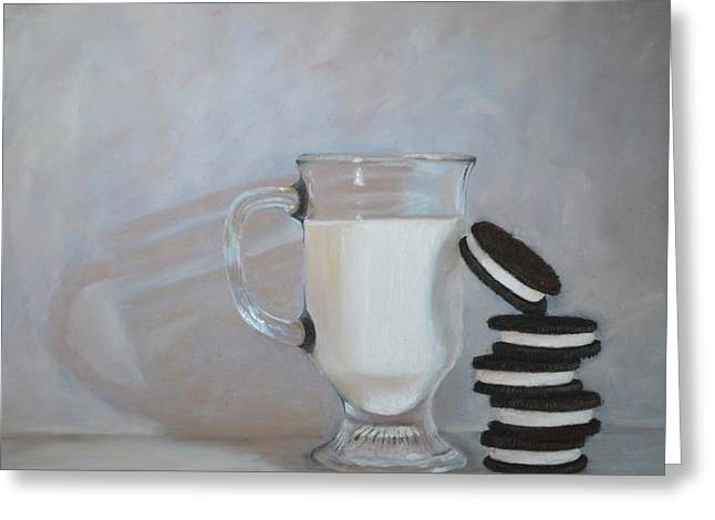 Cookies And Milk Greeting Cards - Double Stuff Greeting Card by Joanne Grant