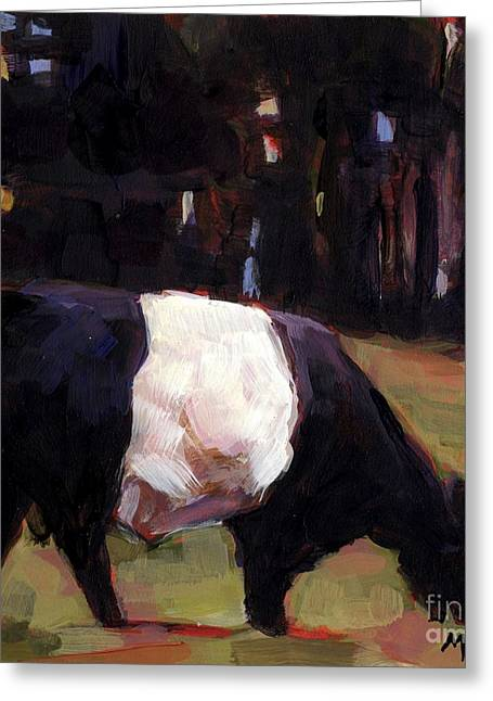 Black And White Cow Greeting Cards - Double Stuff Greeting Card by Molly Poole