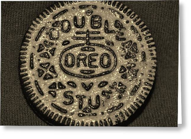 Oreo Cookie Greeting Cards - DOUBLE STUFF OREO in SEPIA NEGITIVE Greeting Card by Rob Hans