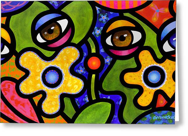 Abstract Faces Greeting Cards - Double Take Greeting Card by Steven Scott