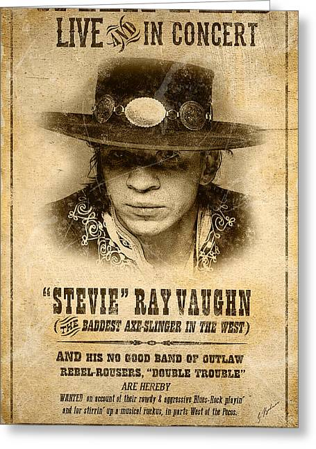 Fender Strat Greeting Cards - S. R. V. Wanted Poster 1 Greeting Card by Gary Bodnar