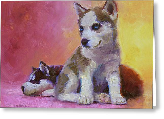 Double Trouble - Alaskan Husky Sled Dog Puppies Greeting Card by Karen Whitworth