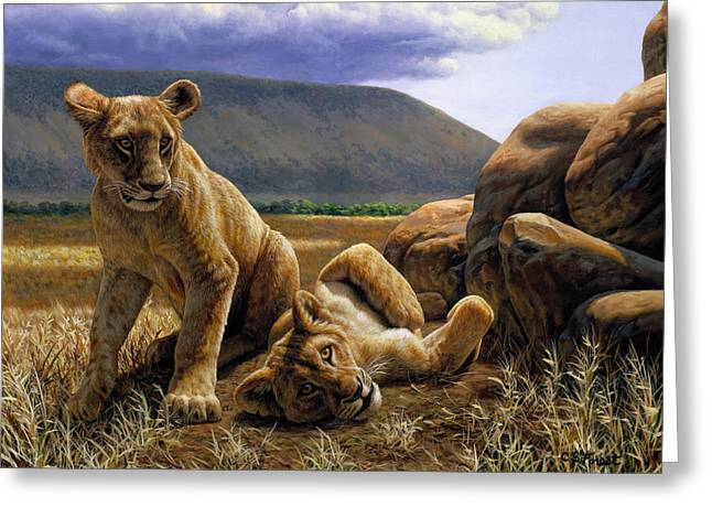 Lioness Greeting Cards - Double Trouble Greeting Card by Crista Forest