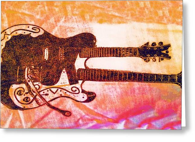 Bedroom Art Greeting Cards - Double Trouble Guitar Greeting Card by Alec Drake
