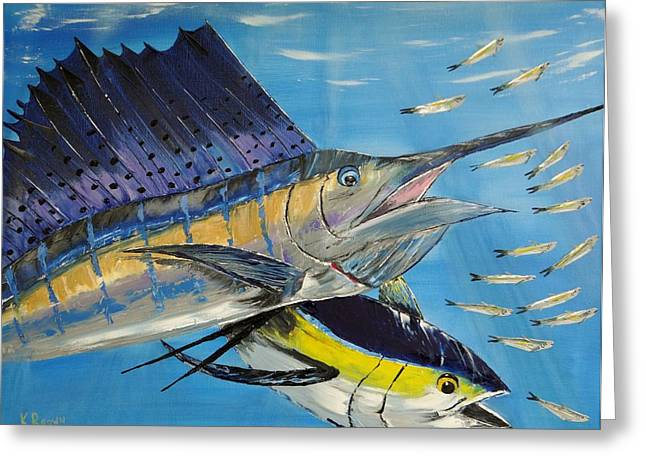 Swordfish Greeting Cards - Double Trouble Greeting Card by Kevin Brown