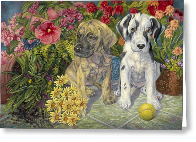 Double Trouble Greeting Card by Lucie Bilodeau