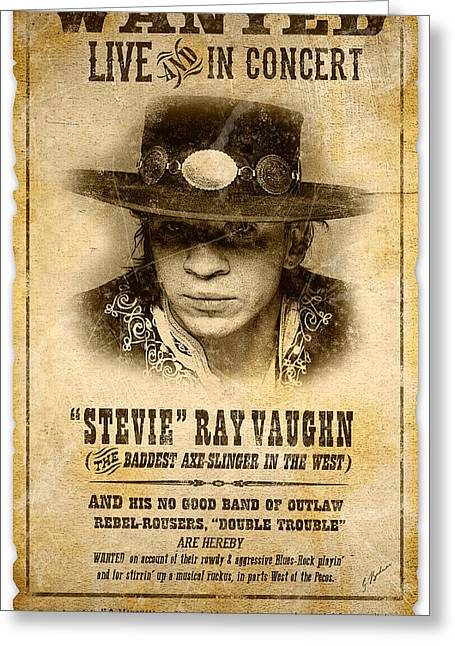 Fender Strat Greeting Cards - S. R. V. Wanted Poster 2 Greeting Card by Gary Bodnar