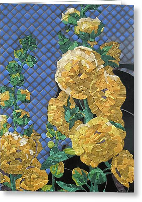 Smalti Glass Art Greeting Cards - Double Yellow Hollyhocks Greeting Card by Teresa Tromp