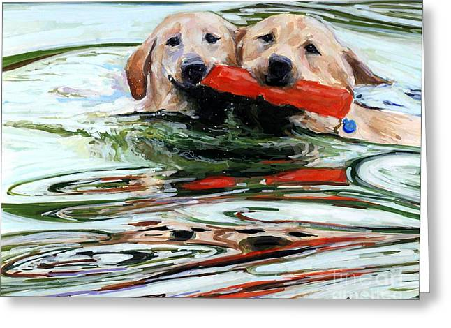 Yellow Dog Paintings Greeting Cards - Doublemint Greeting Card by Molly Poole