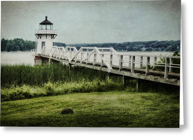 Maine Lighthouses Greeting Cards - Doubling Point Greeting Card by Joan Carroll