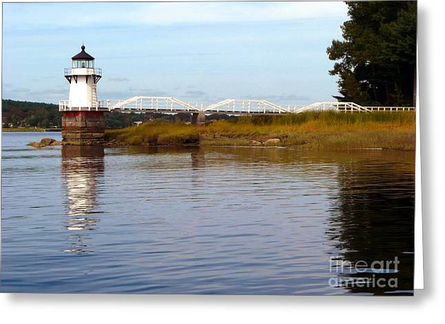 Maine Lighthouses Greeting Cards - Doubling Point Lighthouse Greeting Card by Christine Stack