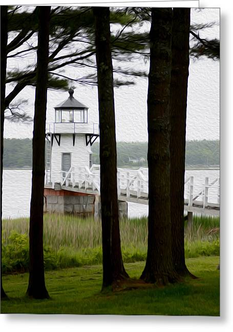 Maine Lighthouses Greeting Cards - Doubling Point Lighthouse Greeting Card by Tracy Winter