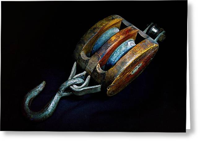 Boat Hardware Greeting Cards - Hook Block or Pully Block - Nautical Greeting Card by Geoffrey Coelho
