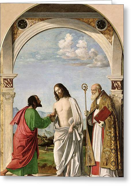 Doubting Greeting Cards - Doubting Thomas with St. Magnus Greeting Card by Giovanni Battista Cima da Conegliano