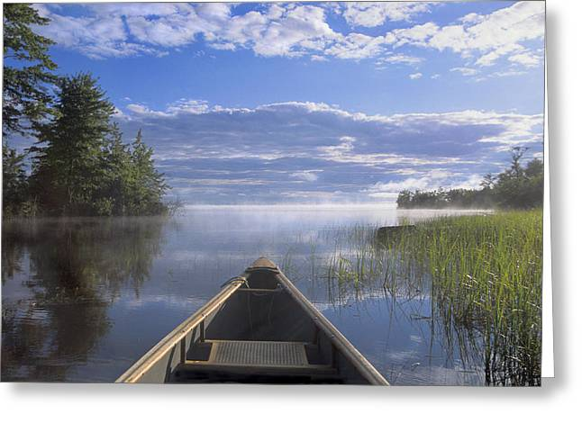 Canoe Photographs Greeting Cards - Doug Hamilton Early Morning Paddle On Greeting Card by Doug Hamilton