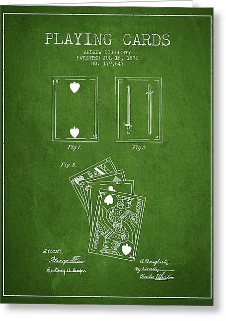 Playing Cards Digital Art Greeting Cards - Dougherty Playing Cards Patent Drawing From 1876 - Green Greeting Card by Aged Pixel