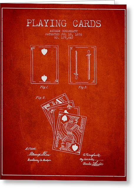 Playing Cards Digital Art Greeting Cards - Dougherty Playing Cards Patent Drawing From 1876 - Red Greeting Card by Aged Pixel