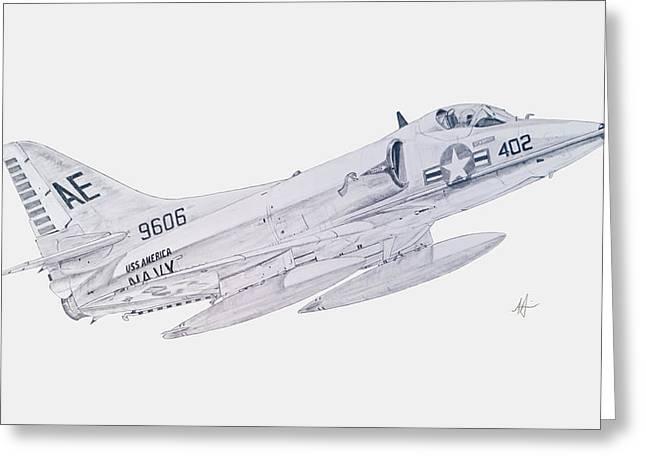 Carrier Drawings Greeting Cards - Douglas A-4C Skyhawk Greeting Card by Nicholas Linehan