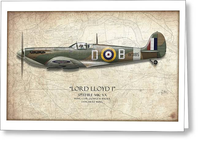 Spitfire Greeting Cards - Douglas Bader Spitfire - Map Background Greeting Card by Craig Tinder