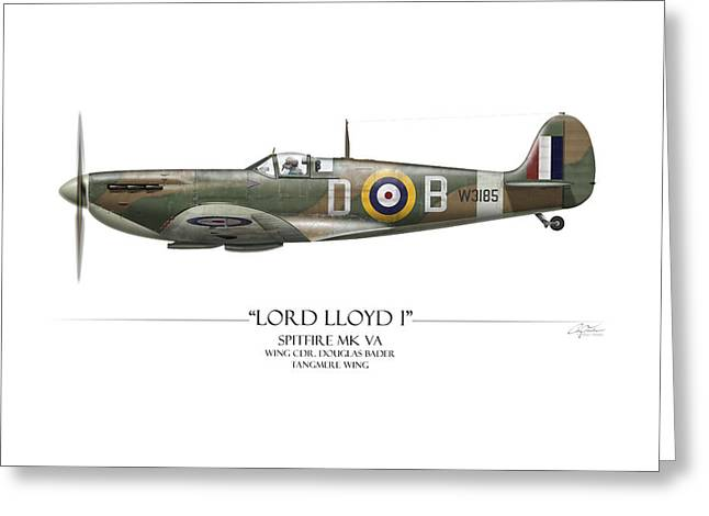 Spitfire Greeting Cards - Douglas Bader Spitfire - White Background Greeting Card by Craig Tinder