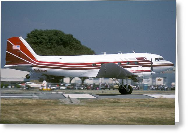 Dc-3 Greeting Cards - Douglas DC-3 N193DP Van Nuys Airport June 23 2000 Greeting Card by Brian Lockett