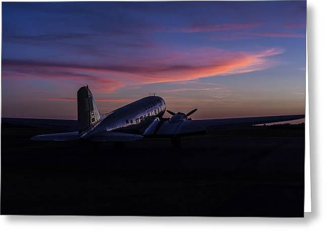 Murray Ky Greeting Cards - Douglas DC-3 Sunrise Greeting Card by Amber Kresge