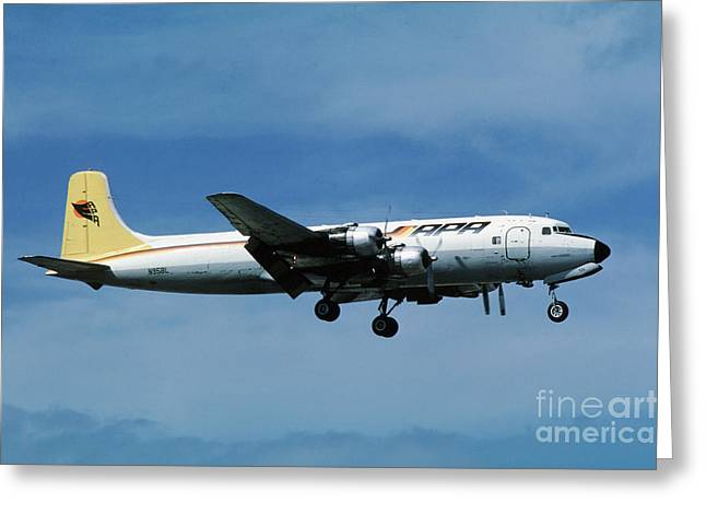 Best Sellers -  - Fixed Wing Multi Engine Greeting Cards - Douglas DC-6BF  landing  N95BL APA Greeting Card by Wernher Krutein