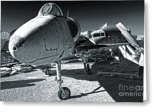 Douglas Skyhawk A-4b - Black And White Greeting Card by Gregory Dyer
